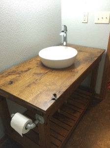 Solid, oak with a sunken sink.